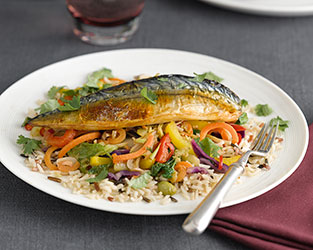 Grilled mackerel with gingered vegetables