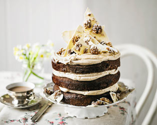 Martha Collison's coffee, white chocolate & walnut cake