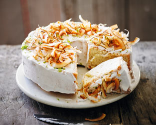 Coconut & lime angel food cake