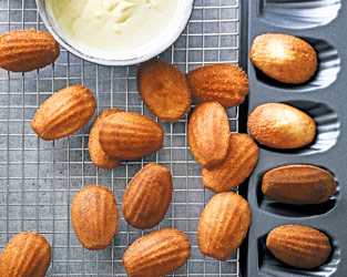 Martha Collison's elderflower madeleines with white chocolate sauce