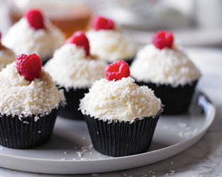 Martha's raspberry & coconut ice cupcakes