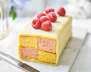 Martha's peach & raspberry Battenberg