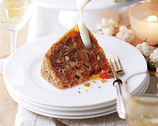 Christmas pudding with tropical fruit and rum