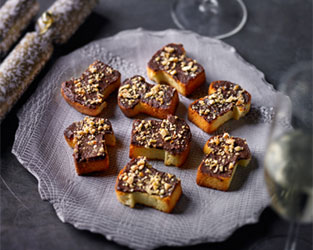 Heston's black pudding 'Nutella' on toast canapés