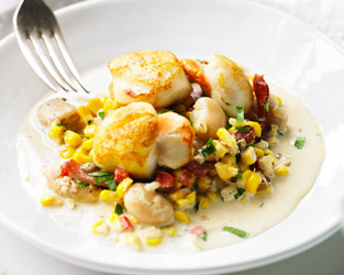 Brian Turner's seared scallops on a bed of succotash
