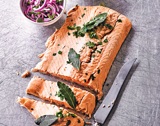 Poached salmon with pickled onion and horseradish sauce