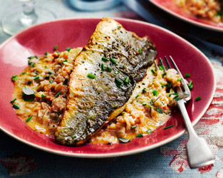 Mark Sargeant's sea bass with creamed crab and chilli spelt