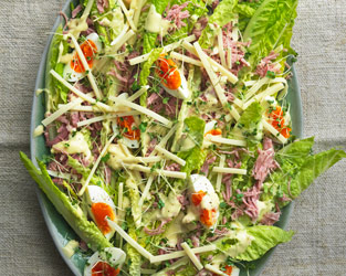 Marco Pierre White's Farmhouse salad with ham, soft-boiled eggs, gruyère cheese and home-made salad cream