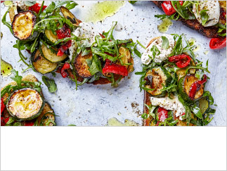 Sizzled courgette, pepper and mozzarella bruschetta