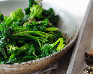 Garlic & rosemary greens with anchovy