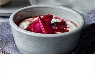 Poached rhubarb with pomegranate and star anise
