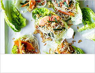 Papaya, herb and rice noodle lettuce cups