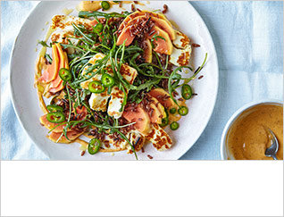 Papaya, halloumi and rocket salad