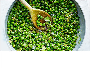 Garden peas with coconut, ginger and chilli