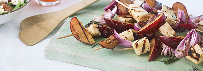 Plum, halloumi, red onion and rosemary kebabs