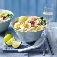 Easy gammon & egg-noodle soup