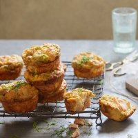 Egg muffins with smoked salmon and herbs