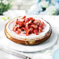 Fresh strawberry and vanilla New York style cheesecake