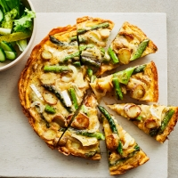 Jersey Royal, brie & asparagus frittata
