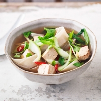 Pak choi, tofu and rice noodle soup