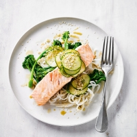 Sesame salmon & noodles with wasabi dressing