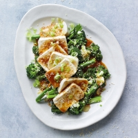 Silken tofu with broccoli & soy-miso dressing