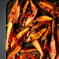 Smoky roast sweet potato wedges