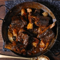 Sticky soy-braised beef short ribs