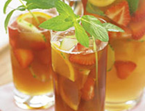 Glasses of mixed pimms