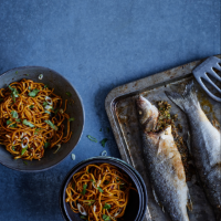 Andrew Wong's Yunnan lemongrass sea bass with garlic and soy noodles