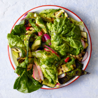 Baby gem, courgette and avocado salad with grilled salad onion dressing