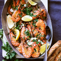 Baked tiger prawns with green garlic butter