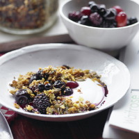 Christmas fruit compote with honey muesli