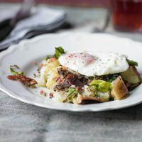 Corned Beef Hash with Spring Greens