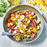 Charred corn & feta salad