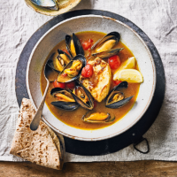 Coconut & tomato poached cod with mussels