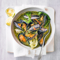 Coconut curry mussels with pak choi