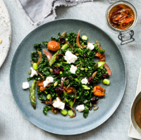 Chopped salad with goats' cheese
