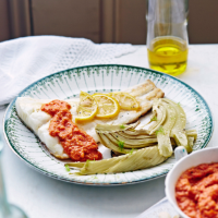 Cod with fennel and romesco sauce