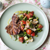 Cumin lamb with fattoush pitta salad