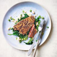 Cajun tuna with pea & bean mash