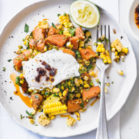 Corn & coriander hash with eggs & chilli oil
