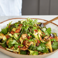 Deliciously Ella's spicy miso aubergine & broccoli salad