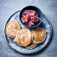 Drop scones with apple & berry fruit compote