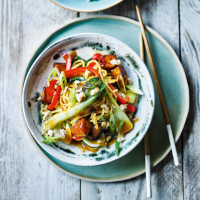 Elly Pear's ginger & soy-roasted tofu with noodles, red pepper & pak choi