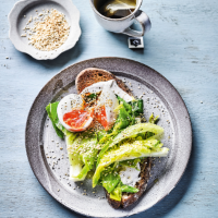 Elly Pear's six-minute eggs on toasted rye with buttered greens & tahini yogurt