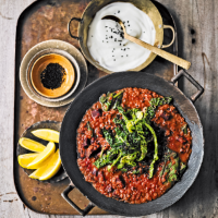 Elly's beetroot dhal with spiced Savoy cabbage