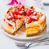 Georgina Hayden's  Baked strawberry praline cheesecake