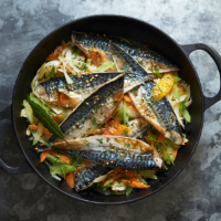 Grilled mackerel and soused vegetables
