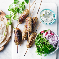 Lamb koftas with spiced cream cheese